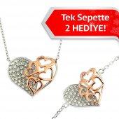 Gümüş Kalp Kalpte 2li Set