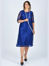 Nidya Moda Büyük Beden Sıfır Yaka Dantel Abiye Elbise 4036sx
