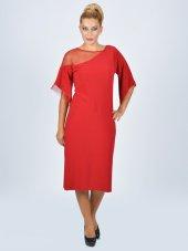 Nidya Moda Büyük Beden Tül Kombinli Kırmızı Abiye Elbise 4034k