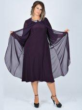 Nidya Moda Büyük Beden Üst Şifon Taşlı Aksesuar Mürdüm Abiye Elbise 4037m