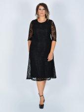 Nidya Moda Büyük Beden Sıfır Yaka Siyah Abiye Dantel Elbise 4036s