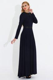 Nidya Moda Büyük Beden Yaka Kemer Derili Lacivert Elbise 4041l