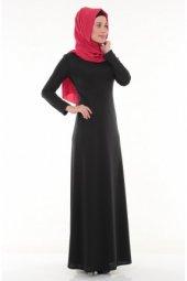 Nidya Moda Tesettür Deri Biyeli Siyah Elbise 4042s