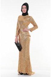 Nidya Moda Tesettür Peplumlu Pullu Payet Gold Balık Abiye Elbise 4047d