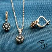 Besen Gümüş Zirkon Taşlı Rose Elmas Montürlü Küpe Kolye Set