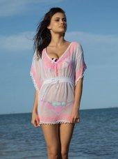 59457 Dekolteli Tül Plaj Elbisesi