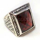 925 Ayar Gümüş Erkek Yüzük Yakut Kırmızı Geniş Kasa Dikdörtgen