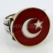 925 Ayar Gümüş Erkek Yüzük Ay Yıldız Kırmızı Renkli