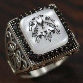 925 Ayar Gümüş Erkek Yüzük Çift Kafa Kartal Köşeli Model Taşlı