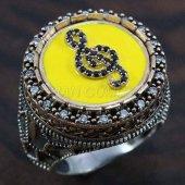 Erkek Gümüş Yüzük 925 Sol Anahtarı Mineli Sarı