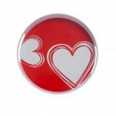 Melamin Yuvarlak Tepsi Kırmızı Kalp Desen