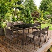 Siesta Dahiti Rattan 6 Sandalyeli Camlı Bahçe Balkon Masa Takımı