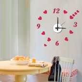 Tüyball 10es023 Kırmızı Kalpli Sticker Duvar Saati
