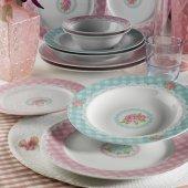 Kütahya Porselen 24 Parça 9378 Çiçekli 6 Kişilik Yemek Takımı