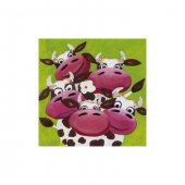 Happy Cows 4 Parça Kanvas Tablo 70x70 Cm