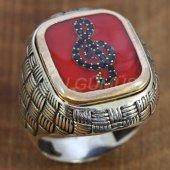 Gümüş Erkek Yüzük Hasır Model Sol Anahtarı Kırmızı Mineli