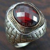 Gümüş Erkek Yüzük Asır Granat Kırmızı