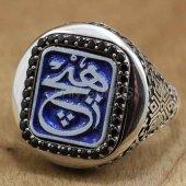 Erkek Gümüş Yüzük Yuvarlak Taşlı Arapça Hiç Yazılı Mavi Mine