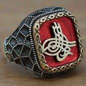 Gümüş Erkek Yüzük Osmanlı Tuğrası Kırmızı Mine