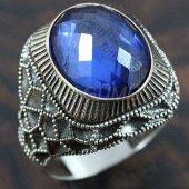 Gümüş Erkek Yüzük Petek Safir Mavi