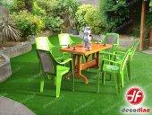 Decorfine Plastik Bahçe Masa Takımı 6 Adet Sandalye(Plastik Hasır