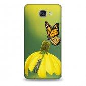 Samsung A9 Kılıf Sarı Kelebek Desenli Kılıf