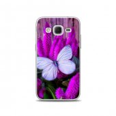 Samsung Core Prime Kılıf Mor Kelebek Bitki Desenli Kılıf