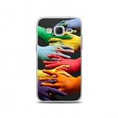Samsung Core Prime Kılıf Renkli Eller Desenli Kılıf