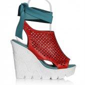 Uk Polo Club P64711 Kadın Topuklu Sandalet Kırmızı Yeşil
