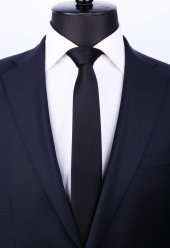 Siyah Slim Düz Saten Kravat Sk5032