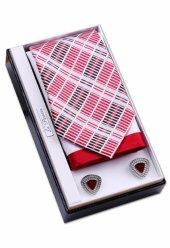 özel Hediye Seti Kırmızı Beyaz Kravat Mendil Manşet Os103