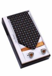 özel Hediye Seti Siyah Kravat Mendil Kol Düğmesi Os144