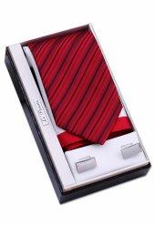 Babalar Günü Seti Kırmızı Kravat Mendil Kol Düğmesi Os109