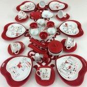 Keramika Kırmızı Kalp Peri Masalı 6 Kişilik Kahvaltı Takımı