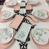 6 Kişilik Pembe Aşk Keramika Kahvaltı Takımı