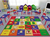 Confetti Çocuk Odası Anaokulu Oyun Halısı Study Time