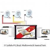 3 Uydulu 8çıkışlı Multiswitch Santral Seti