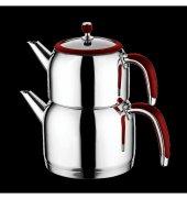 Emsan Halley Paslanmaz Çelik Çaydanlık Kırmızı