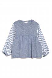 Caroline Oversize Açık Mavi Çizgili Bluz