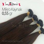 (150 Adet) 100 Gerçek Koyu Kahverengi Saç Mikro Kaynak Saç