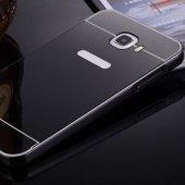 Gpack Samsung Galaxy J7 Kılıf Aynalı Metal Bumper + Kırılmaz Cam
