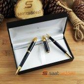 Steel Pen 2 Li Siyah Sarı Kalem Seti Babalar Günü Özel