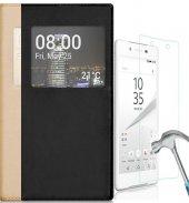 Sony Xperia Xa1ultra Pencereli Kılıf + Kırılmaz Nano Cam