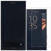 Sony Xperia X Compact Kılıf Kapaklı Siyah Nano Cam Hediye