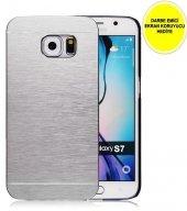 Samaung Galaxy S7 Motomo Metal Kılıf Gümüş Darbe Emici Ekran