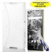 Sony Xperia Z5 Kılıf Beyaz Cüzdan Kırılmaz Cam