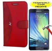 Samsung Galaxy A7 2016 Kırmızı Cüzdan Kılıf Kırılmaz Cam Koruyucu