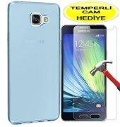 Samsung Galaxy A7 2016 Kılıf 02mm Mavi Silikon Kırılmaz Cam
