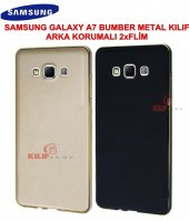 Samaung Galaxy A7 Kılıf Metal Bumber 2xfilm