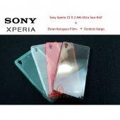 Sony Xperia Z2 Kılıf 0.2mm Elastik Silikon+2film